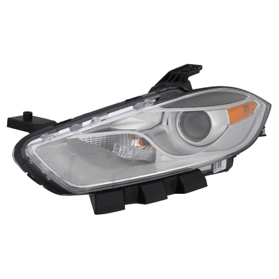 DART 13-15 Left Headlight Assembly HALOGEN With Chrome TRIM